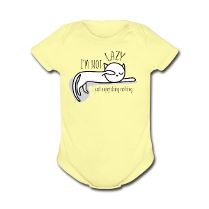 A lazy cute cat - Short Sleeve Baby Bodysuit