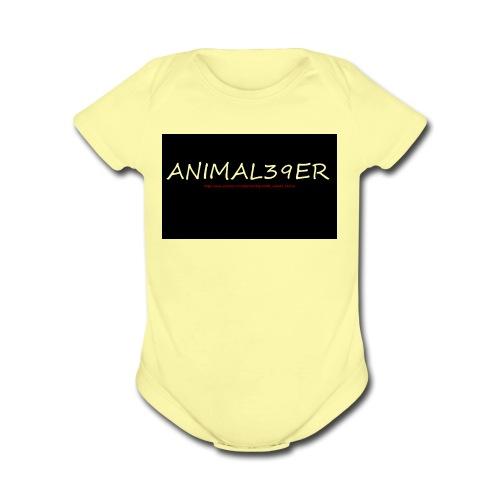 Animal39er with link - Organic Short Sleeve Baby Bodysuit
