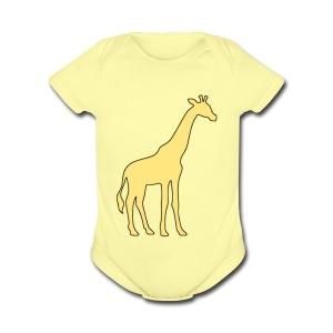yellow giraffe - Short Sleeve Baby Bodysuit