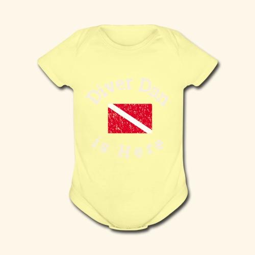 Scuba - Diver Dan is Here, distressed look - Organic Short Sleeve Baby Bodysuit