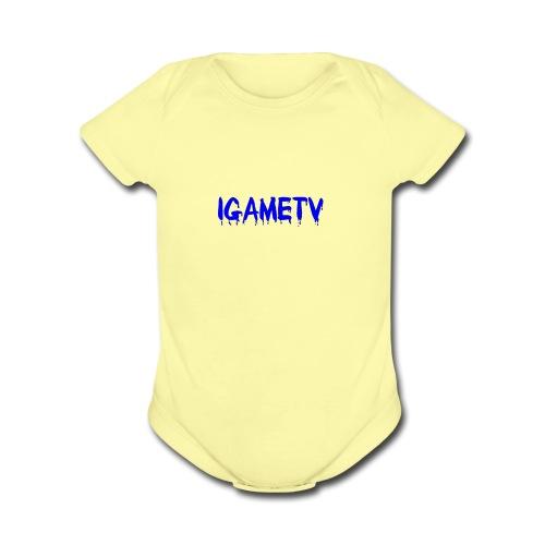 IGAME TV BLUE EDITION - Organic Short Sleeve Baby Bodysuit