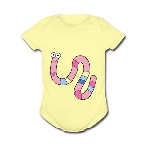 Squirmy Wormy (plain) - Short Sleeve Baby Bodysuit