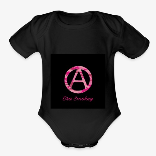 Ora Smokey / pink camo - Organic Short Sleeve Baby Bodysuit
