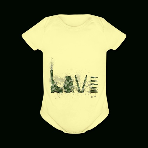 Love and War - Army - Organic Short Sleeve Baby Bodysuit