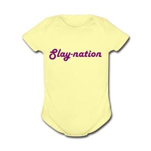 purple slay nation - Short Sleeve Baby Bodysuit