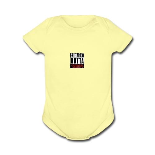 straight outta sheeps - Organic Short Sleeve Baby Bodysuit
