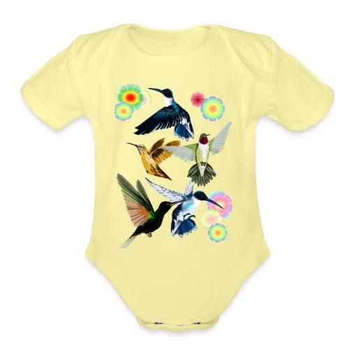 For The Love Of Hummingbirds - Organic Short Sleeve Baby Bodysuit