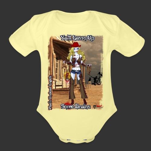 Zombie Cowgirl Cassidy Full Background - Organic Short Sleeve Baby Bodysuit