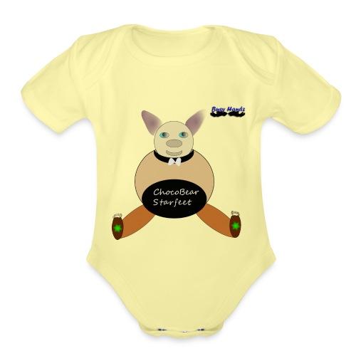 Girls ChocoBear Flare Shirt - Organic Short Sleeve Baby Bodysuit