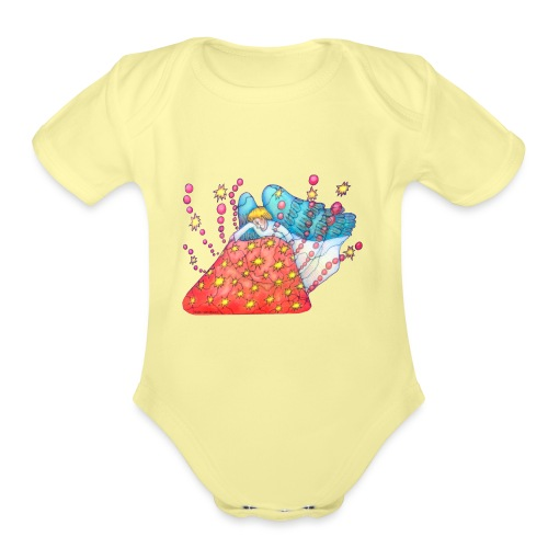 An angel spreading the road - Organic Short Sleeve Baby Bodysuit
