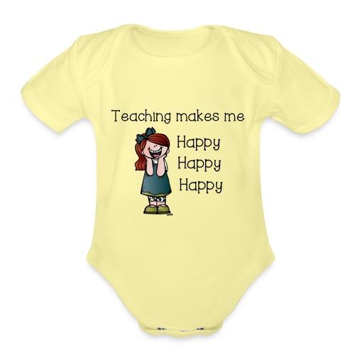 happy - Organic Short Sleeve Baby Bodysuit
