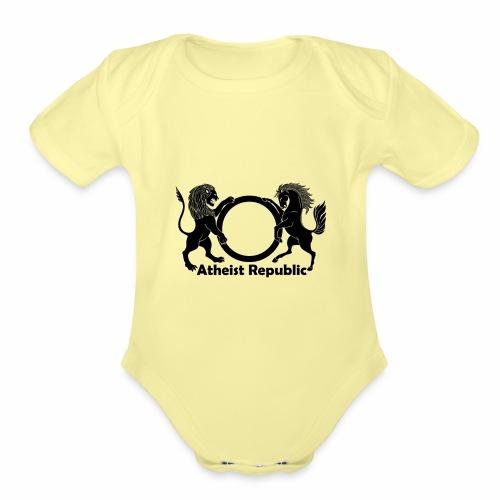Atheist Republic Logo - Black - Organic Short Sleeve Baby Bodysuit