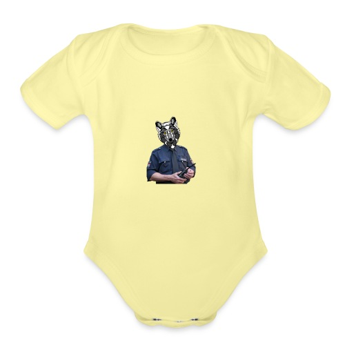 wolf police - Organic Short Sleeve Baby Bodysuit