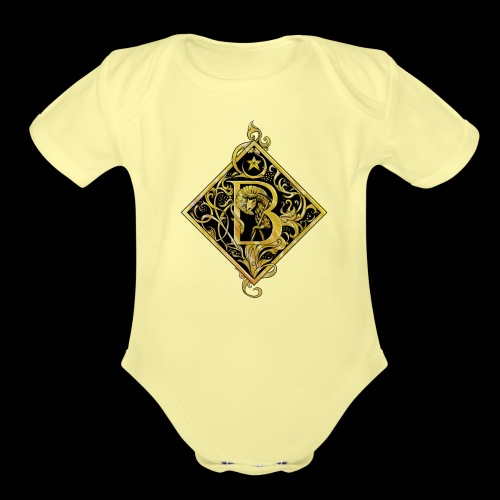 NAME STARTS WITH B MONOGRAM FANCY BEE! - Organic Short Sleeve Baby Bodysuit