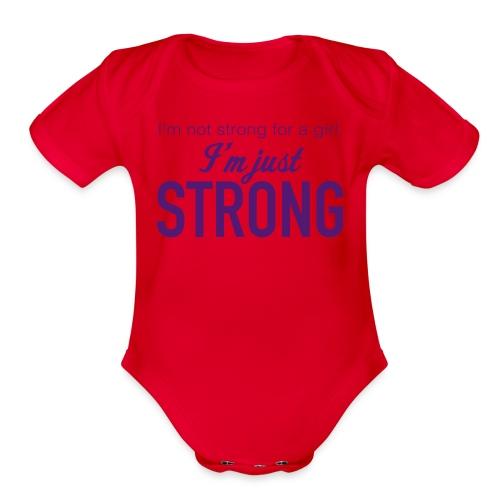 Strong for a Girl - Organic Short Sleeve Baby Bodysuit