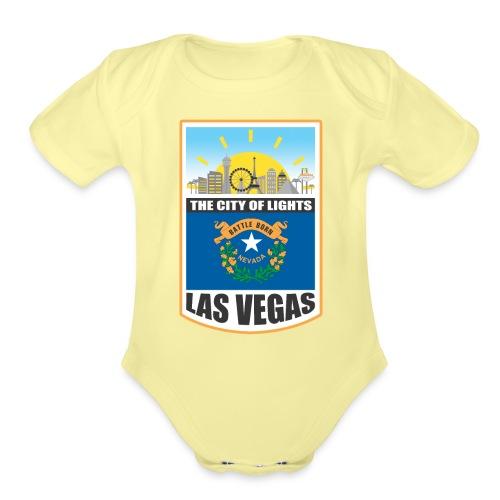 Las Vegas - Nevada - The city of light! - Organic Short Sleeve Baby Bodysuit