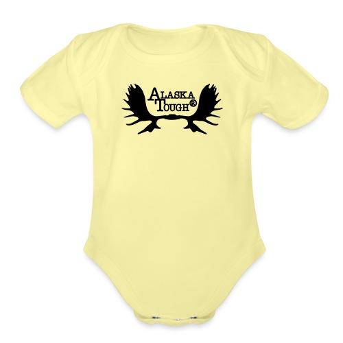 Moose Antler lg - Organic Short Sleeve Baby Bodysuit