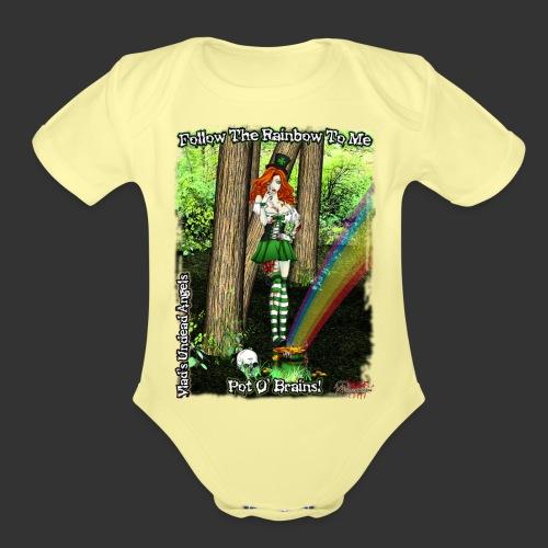 Fiona Zombie Leprechan Full Background - Organic Short Sleeve Baby Bodysuit