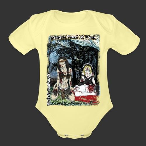 Thanksgiving Zombie Feast Full Background - Organic Short Sleeve Baby Bodysuit
