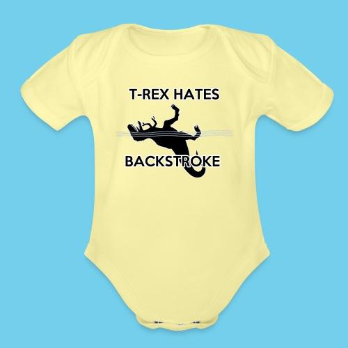 T Rex Hates Backstroke - Organic Short Sleeve Baby Bodysuit