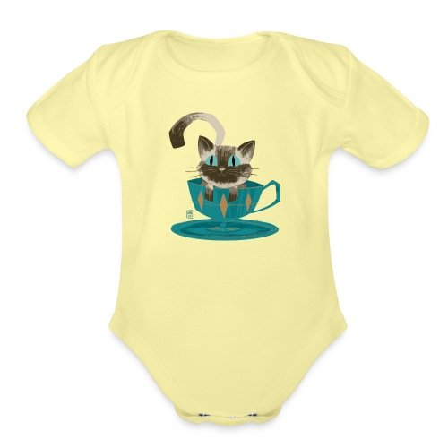 Cat in a Teacup by Kim B - Organic Short Sleeve Baby Bodysuit