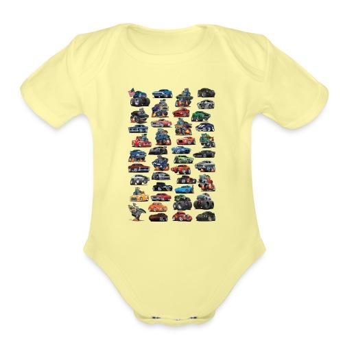 American Hot Rods, Muscle Cars, Pickup Trucks - Organic Short Sleeve Baby Bodysuit