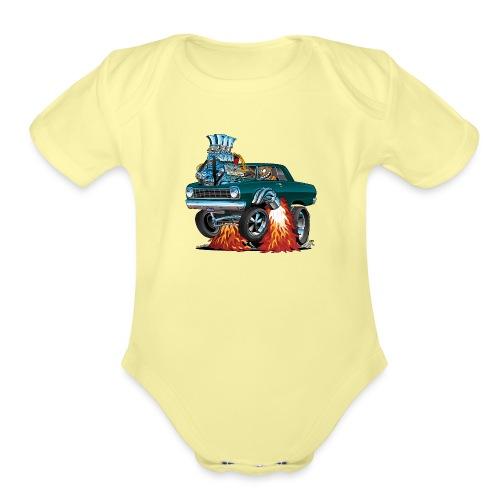 Sixties American Classic Muscle Car Cartoon - Organic Short Sleeve Baby Bodysuit