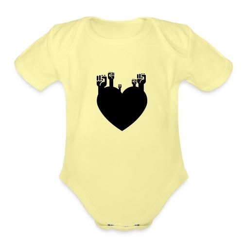 Fist Heart Blk - Organic Short Sleeve Baby Bodysuit