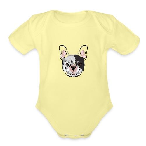 pngtree french bulldog dog cute pet - Organic Short Sleeve Baby Bodysuit