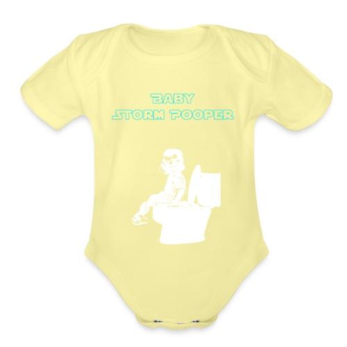 Baby Storm Pooper Blue - Organic Short Sleeve Baby Bodysuit