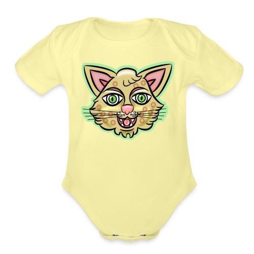 Happy Cat Gold - Organic Short Sleeve Baby Bodysuit