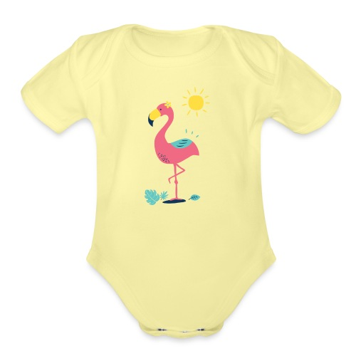 Khodeco design flamingo - Organic Short Sleeve Baby Bodysuit