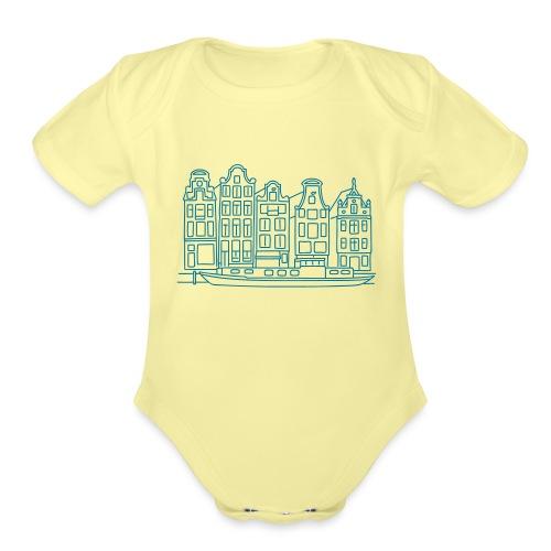 Amsterdam Canal houses - Organic Short Sleeve Baby Bodysuit