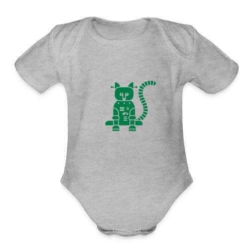 catbot - Organic Short Sleeve Baby Bodysuit