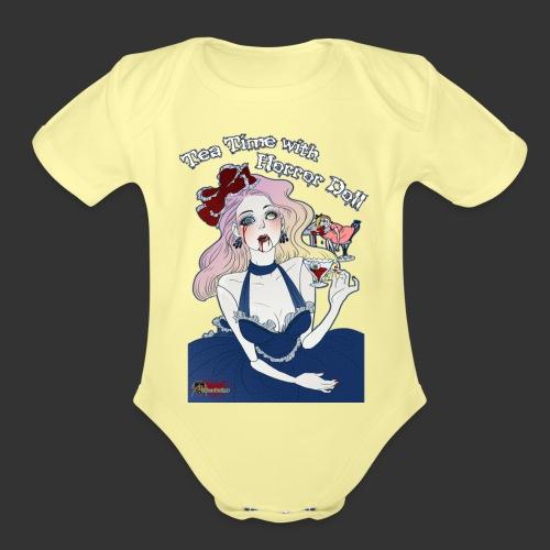 Tea Time With Horror Doll - Organic Short Sleeve Baby Bodysuit