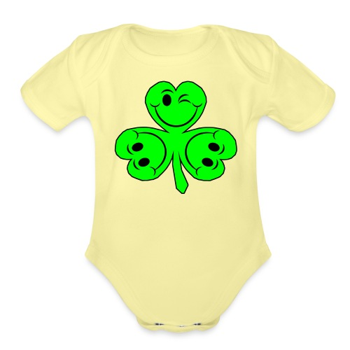 smileycloverleaves1 - Organic Short Sleeve Baby Bodysuit