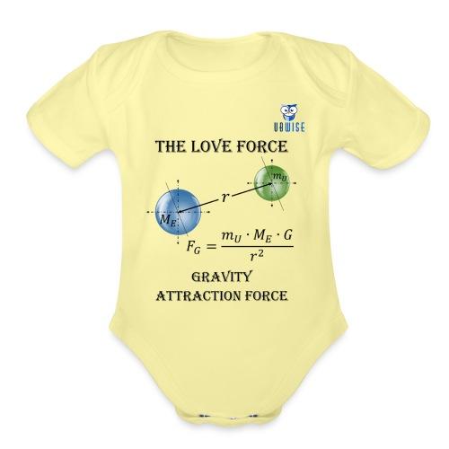 Newton Gravity MuMeG with UBWise logo - Organic Short Sleeve Baby Bodysuit