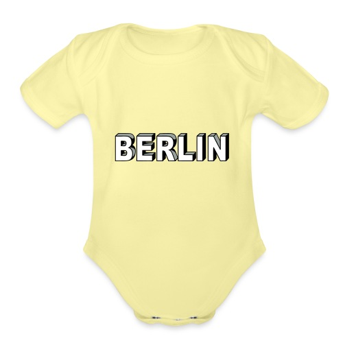 BERLIN Block Letters - Organic Short Sleeve Baby Bodysuit