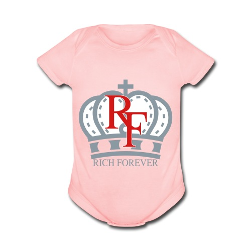 Rich forever Crown 3 5 - Organic Short Sleeve Baby Bodysuit