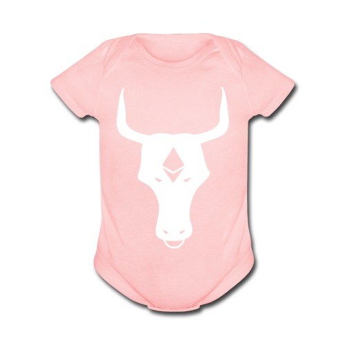 ether bull white - Organic Short Sleeve Baby Bodysuit