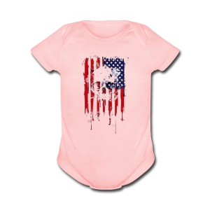 American Flag Skull 4th of July graphic Collection - Short Sleeve Baby Bodysuit