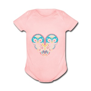 hearts of owls - Short Sleeve Baby Bodysuit