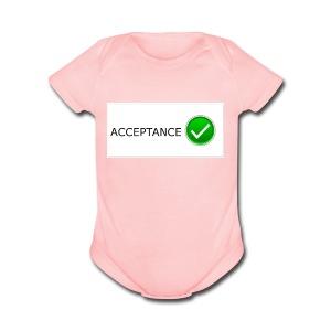 accpetnace_logo - Short Sleeve Baby Bodysuit