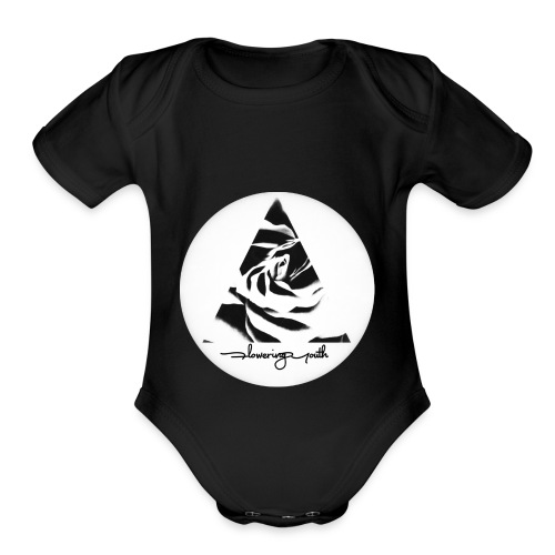 Flowering Youth Black and White - Organic Short Sleeve Baby Bodysuit