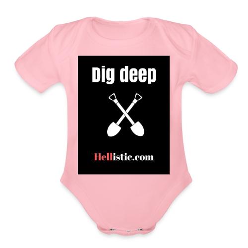 Dig Deep two shovels - Organic Short Sleeve Baby Bodysuit