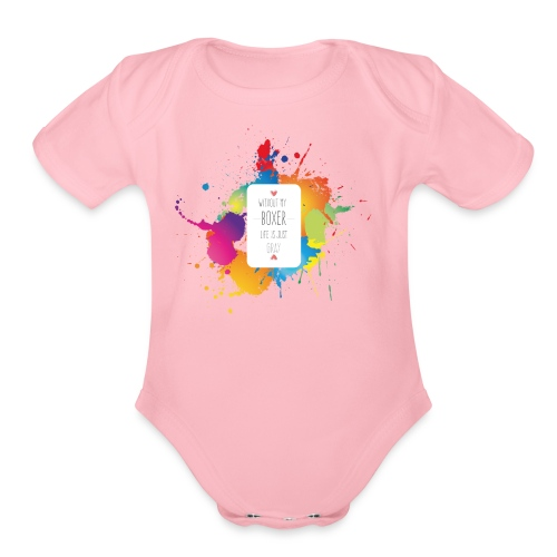 Gray life without a boxer - Organic Short Sleeve Baby Bodysuit