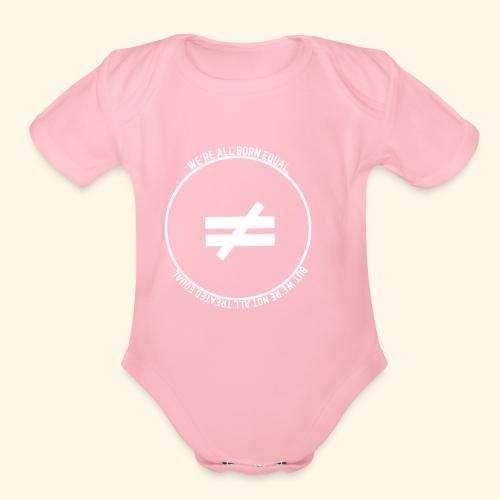Stay True-White Logo - Organic Short Sleeve Baby Bodysuit