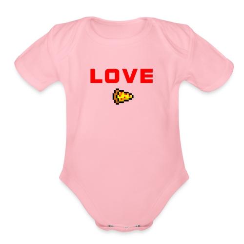 LOVE PIZZA - Organic Short Sleeve Baby Bodysuit