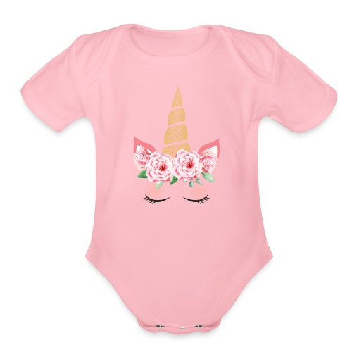 Unicorn Diva Face - Organic Short Sleeve Baby Bodysuit