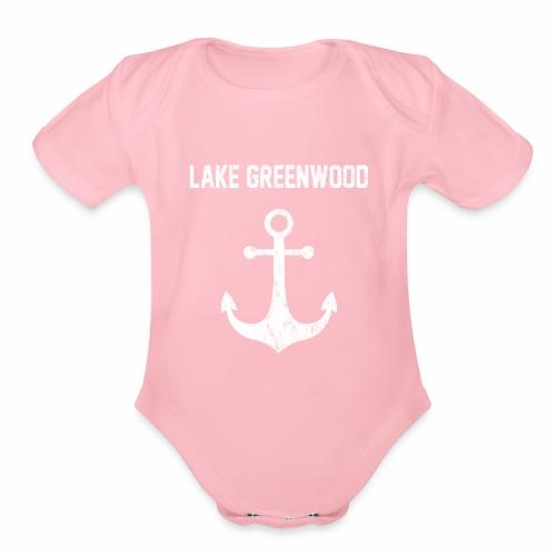 Lake Greenwood South Carolina Anchor Design - Organic Short Sleeve Baby Bodysuit